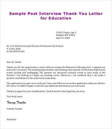 teacher post interview thank you letter