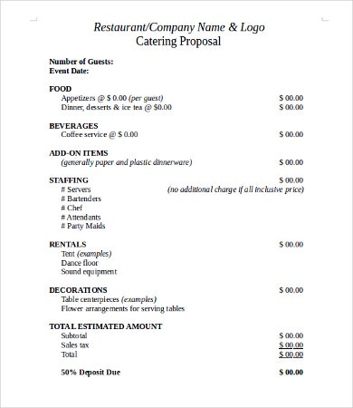 Request for Catering Proposal Template
