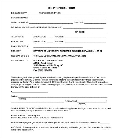 Bid Proposal Form Construction Bid Form Office Templates Bid