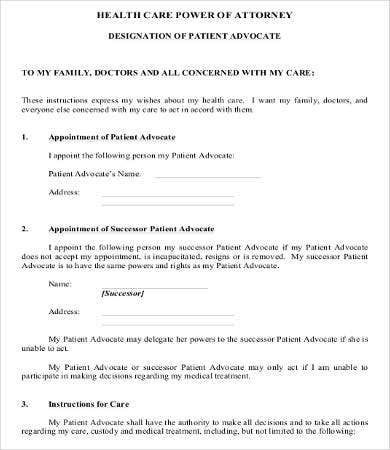 medical power of attorney form