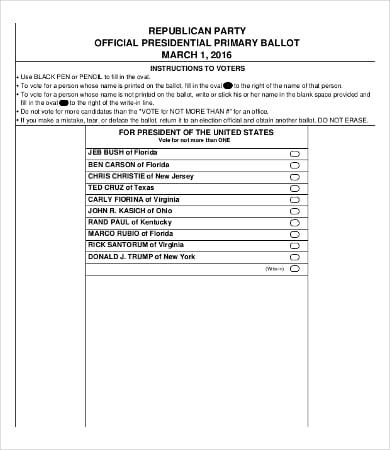 blank ballot paper template