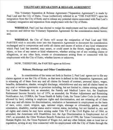 Voluntary Employment Separation Agreement Template