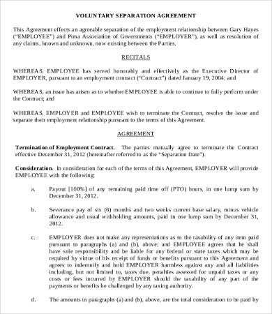 Simple Employment Separation Agreement Template   Free Pdf