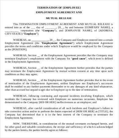 Simple Employment Separation Agreement Template 8 Free Pdf