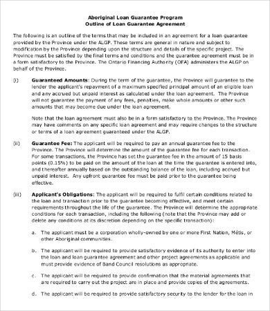 Personal Loan Guarantee Agreement Template