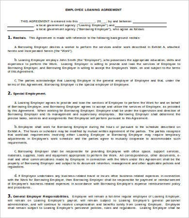 Employee Personal Loan Agreement Template