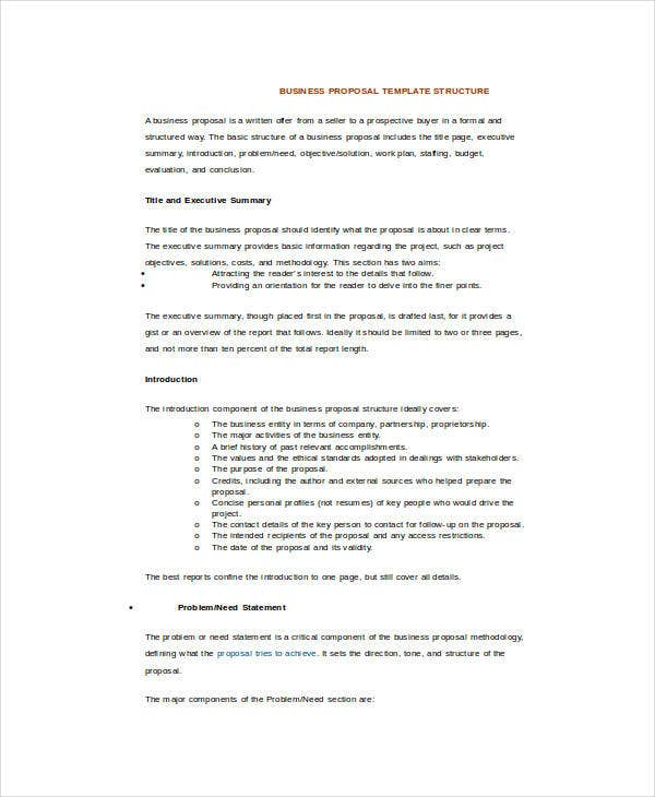Business Proposal Template Word 5 Free Sample Example Format – Word Template for Proposal