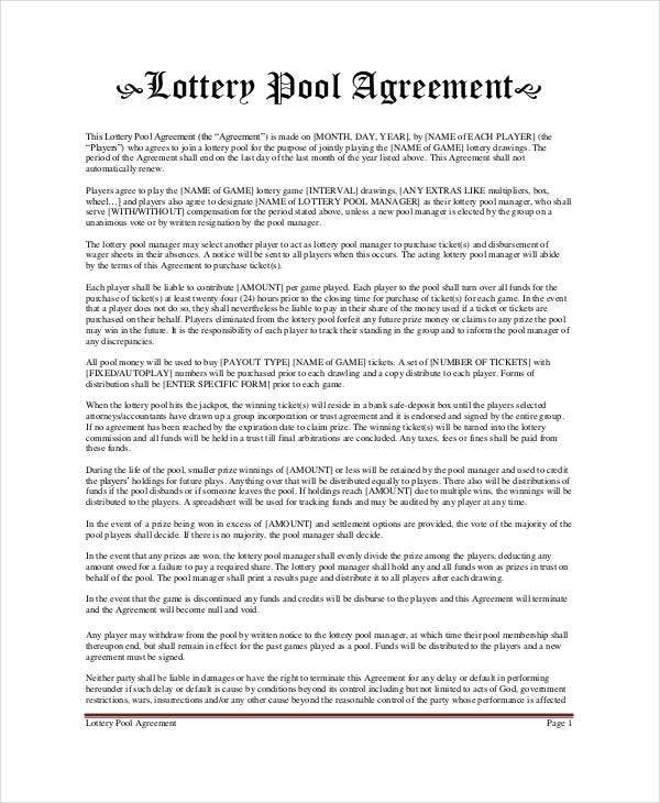 Lottery Pool Agreement Template - 6+ Free PDF Documents Download ...
