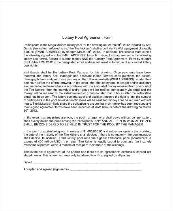 Lottery Pool Agreement Template   Free Pdf Documents Download