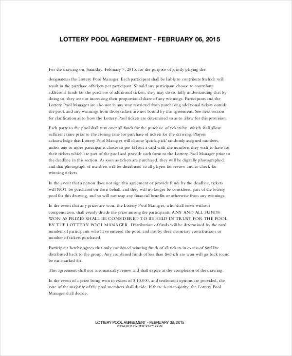 Lottery Pool Agreement Template 6 Free Pdf Documents Download