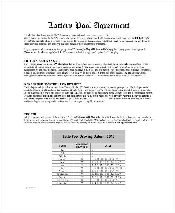 lottery group contract template lottery pool agreement template 6 free pdf documents