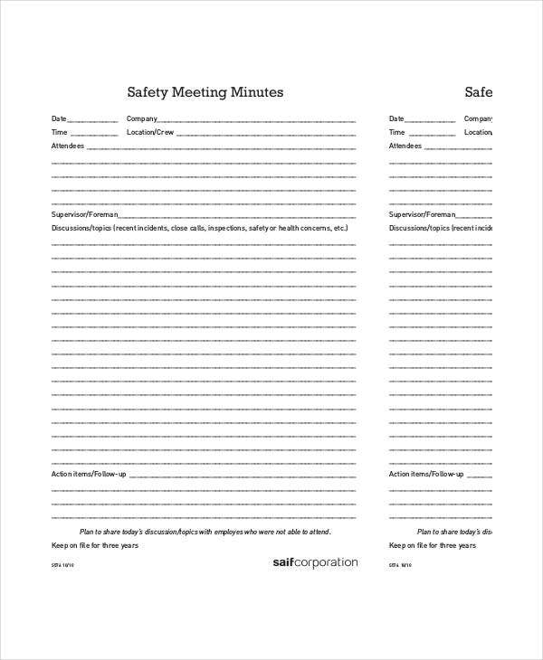 safety meeting minutes template 12 free sample example format