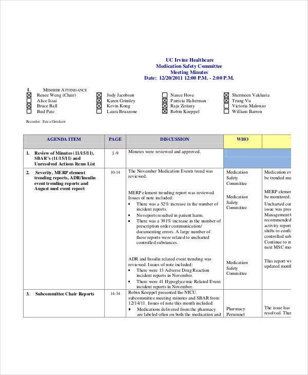 medication safety committee meeting minutes template