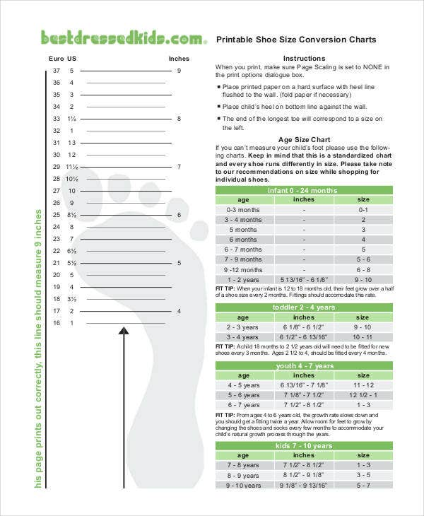 Printable Shoe Size Chart 9 Free Pdf Documents Download Free