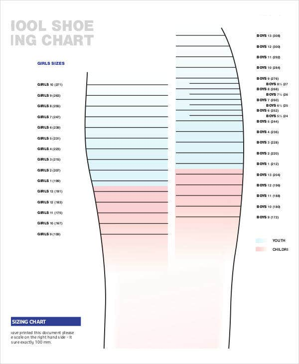 picture relating to Shoe Size Template Printable known as Printable Shoe Measurement Chart - 9+ No cost PDF Files Obtain