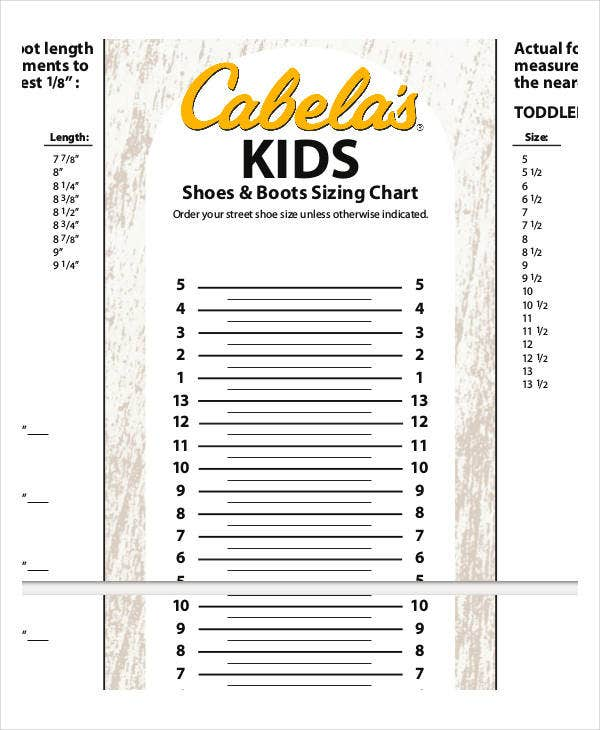 printable shoe size chart for kids