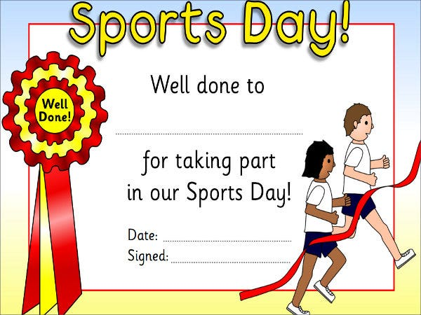9 sports award templates free premium templates for Sports day certificate templates free