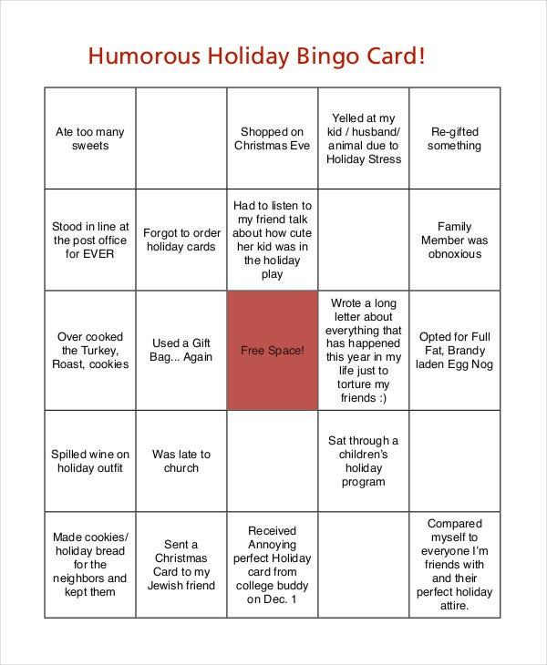 free printable bingo holiday card