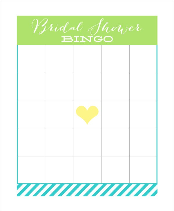 free printable bridal shower bingo card