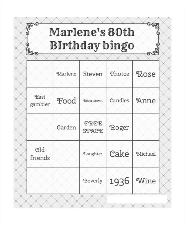 free printable birthday bingo card