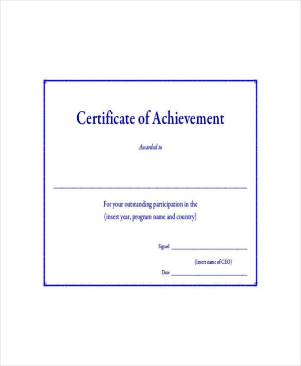 Certificate of Outstanding Achievement Template