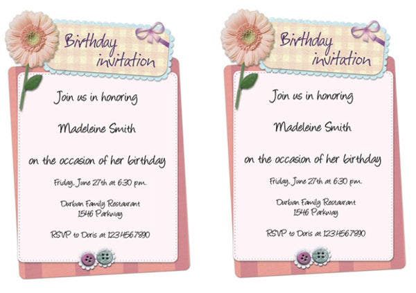 free birthday email invitation