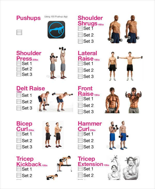 simple workout checklist template