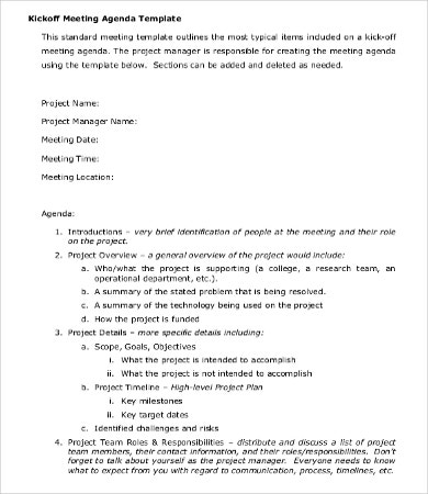 project planning agenda template