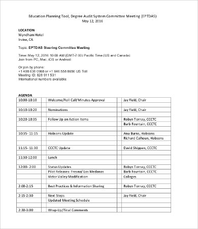 audit planning meeting agenda template
