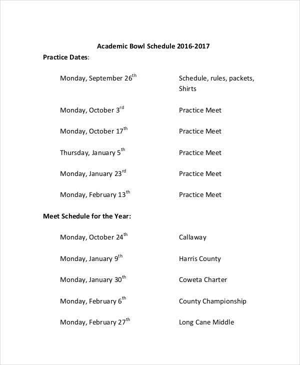 printable academic bowl schedule
