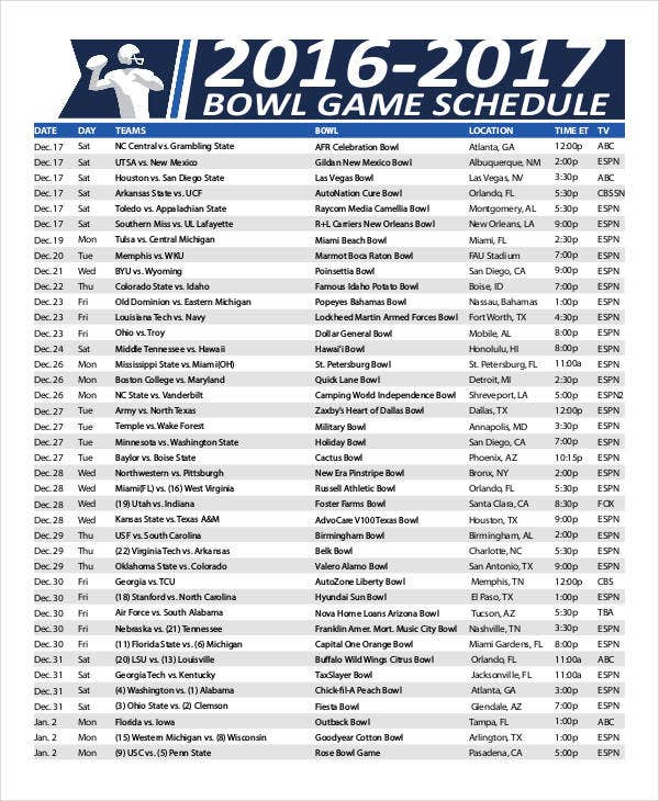 printable bowl game schedule