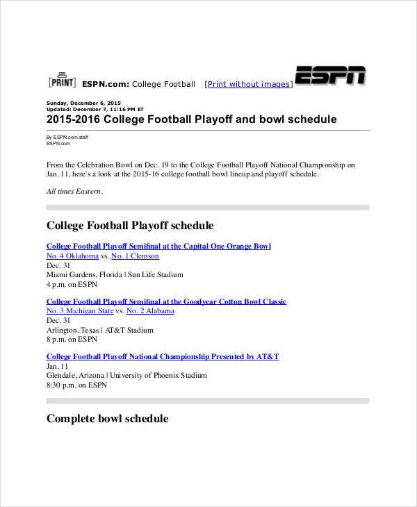 printable playoff bowl schedule