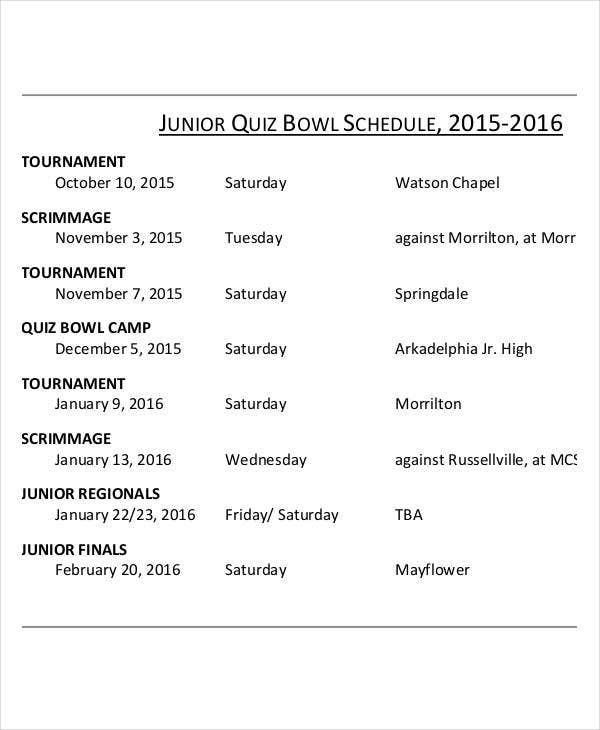 printable quiz bowl schedule