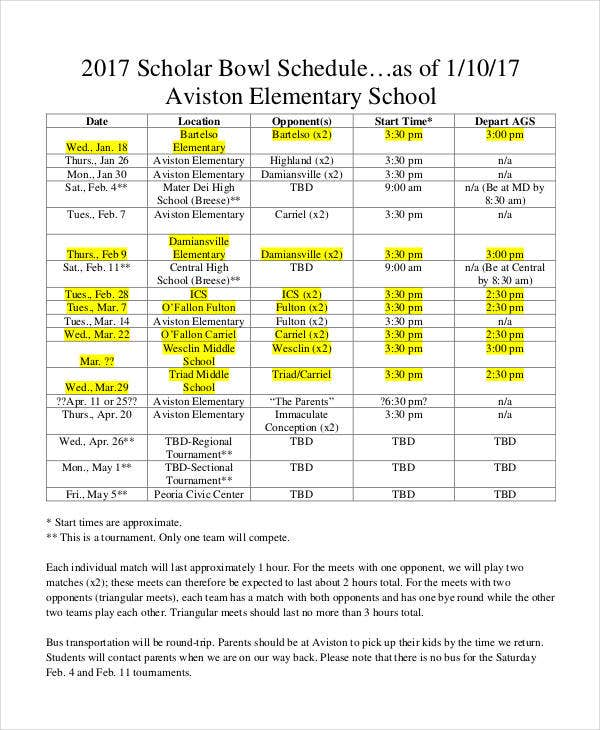 printable scholar bowl schedule