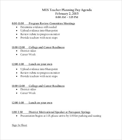 Planning Day Agenda Template