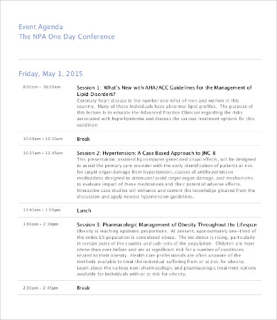One Day Conference Agenda Template