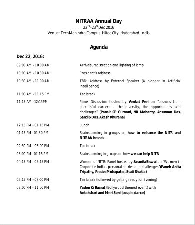 Day Agenda Templates   Free Word Pdf Documents Download  Free