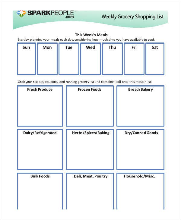 Printable Grocery List Templates   Free Pdf Documents Download