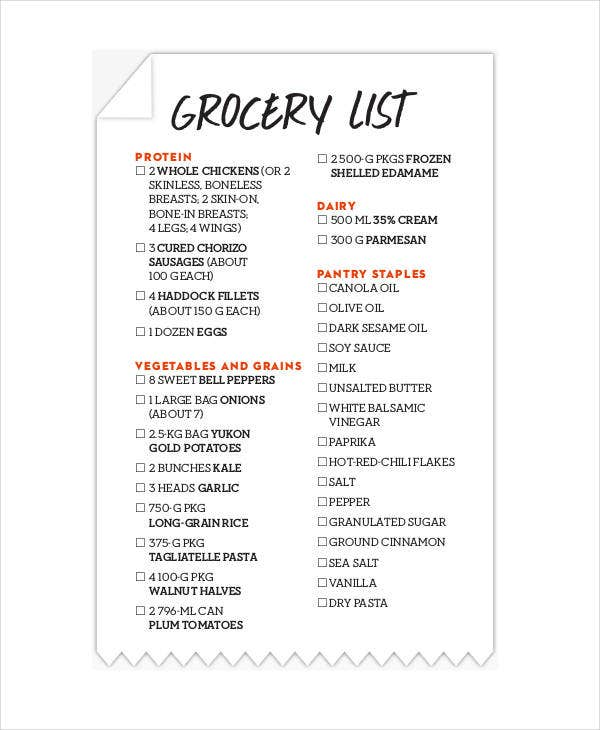 printable free grocery list
