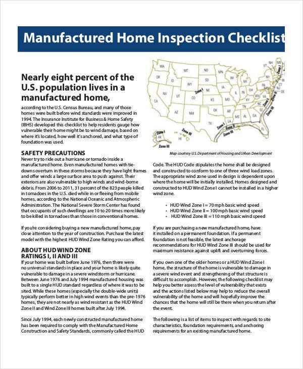 Home Inspection Checklist Template   Free Pdf Documents