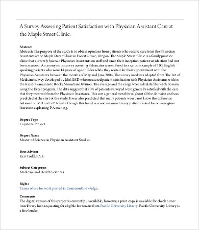 Physician Satisfaction Survey Template 7 Free Pdf