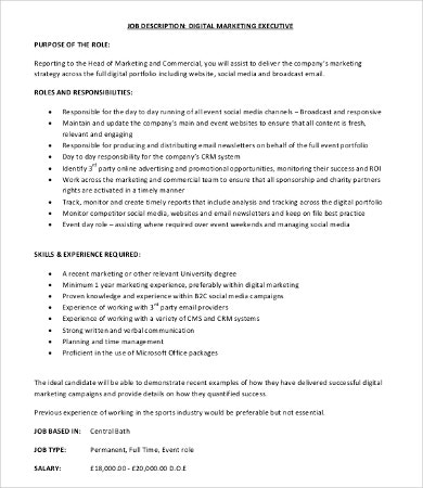 Marketing Job Description   Free Word Pdf Format Download