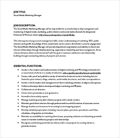 Marketing Job Description - 9+ Free Word, Pdf Format Download