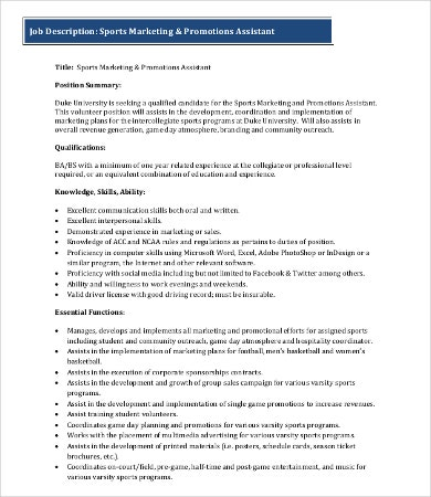 sports marketing job description
