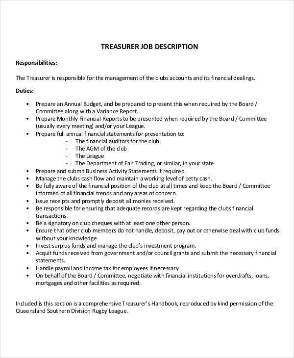 Treasurer Job Description Nonprofit Treasurer Duties Nonprofit