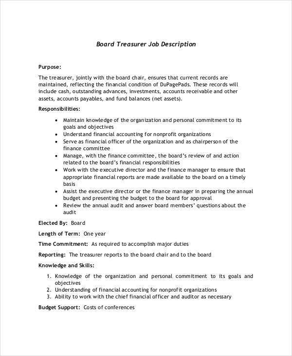 board treasurer job description dupagepadsorg - Job Description Treasury Manager