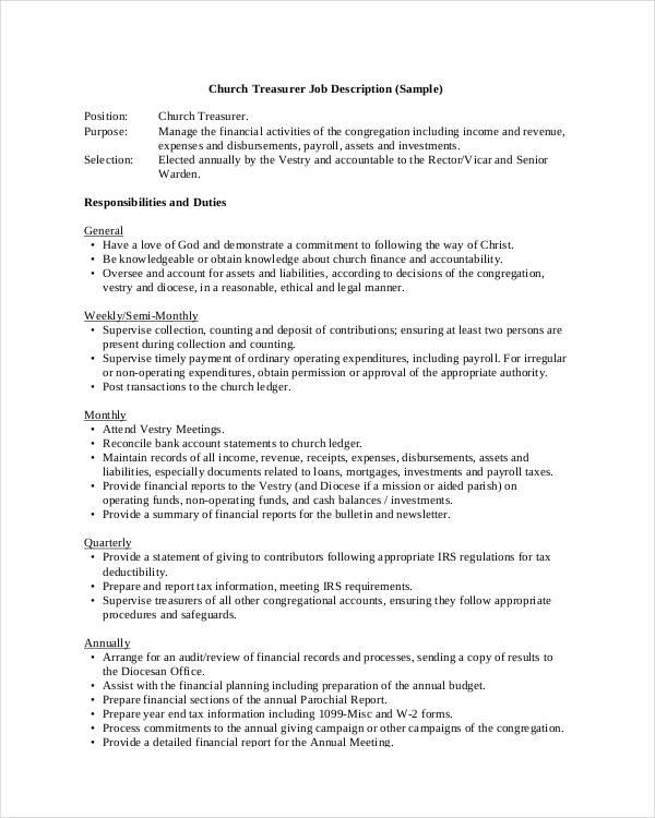 Treasurer Job Description Samples