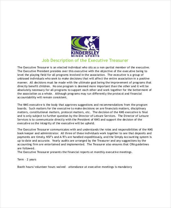 executive treasurer job description