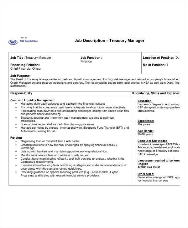 treasury manager job description - Job Description Treasury Manager