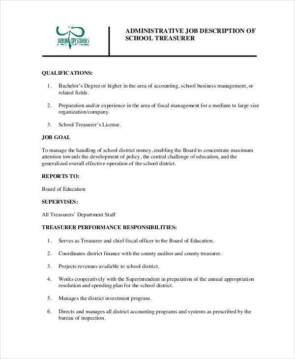 Treasurer Job Description Templates - 9+ Free Pdf Format Download